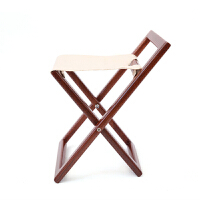 红木小凳子红木马扎折叠椅 实木马扎 家用便携式红木换鞋 靠背矮交叉新品帆布凳