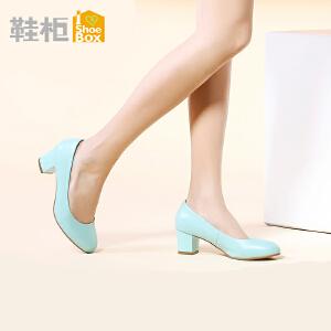 达芙妮旗下SHOEBOX/鞋柜简约纯色粗跟鞋圆头浅口高跟鞋
