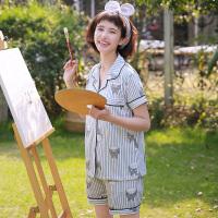 可爱龙猫开衫睡衣女夏季短袖两件套装韩版清新学生宽松家居服 Y开衫龙猫短袖