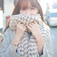 毛线围巾女冬季日系小清新女士可爱韩版保暖针织粗线百搭原宿围脖