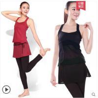 性感吊带气质显瘦瑜伽服套装女健身服跳操服性感小背心含胸垫