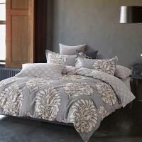 当当优品家纺 纯棉斜纹印花床品 双人床单四件套 欧恋风彩