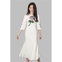 明星同款刘亦菲名媛气质立体花时尚淑女白色优雅鱼尾连衣裙礼服裙 白色