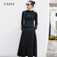 【到手价:221元】Amii极简刺绣不对称半身裙女冬2018新宽松加厚高腰黑色长款A字裙