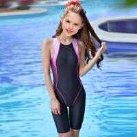 新款少女大童泳衣女子�和�泳衣女�和�泳�b女�B�w��I泳衣速干�技 黑色