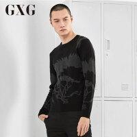 【GXG过年不打烊】GXG男装 冬季男士修身圆领套头黑色毛衫针织衫#64220253