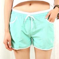 夏季运动短裤女士夏季速干休闲裤宽松大码跑步热裤糖果色沙滩裤 X