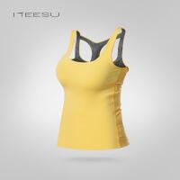 新款秋冬瑜伽服吸汗运动跑步背心锦纶瑜珈上衣显瘦T006 黄色 S