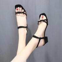 仙女风凉鞋中跟户外时尚女士学生百搭粗跟一字带鞋子