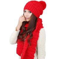 韩版潮冬季红色帽子围巾两件套女士保暖套装套件二件套