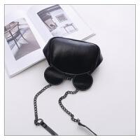 包包新款时尚女包可爱米奇夹子包锁扣包单肩斜挎包链条包 黑色小号 送眼镜包 现货