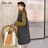 七格格女冬季2019新款韩版宽松外套中长款两穿轻薄棉衣马甲潮