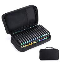 手提多功能绘画马克笔专用笔袋60色马克笔收纳袋水彩笔笔盒 黑色 (60孔马克笔袋)