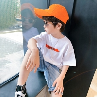 左西童装男童T恤短袖夏装纯棉儿童男孩白色上衣中大童2021新款潮
