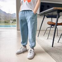 【2件2折】左西男童牛仔防蚊裤夏装2021新款儿童中大童长裤夏季裤子薄款