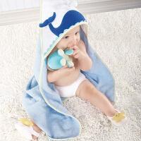 美国BabyAspen 宝宝纯棉浴巾 沙滩小伙伴新生儿四件套 小鲸鱼系列礼品套装