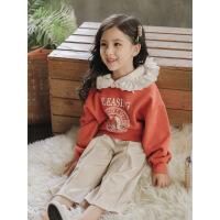 女童卫衣2018秋装新款小女孩韩版时尚卫衣中大童儿童上衣 桔红色