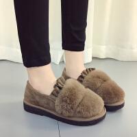 棉鞋女秋冬季2017新款学生保暖加绒韩版低帮毛毛鞋平底百搭豆豆鞋