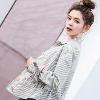 七格格春装2018新款女外套韩版条纹百搭宽松bf开学季学生原宿风棒球服潮