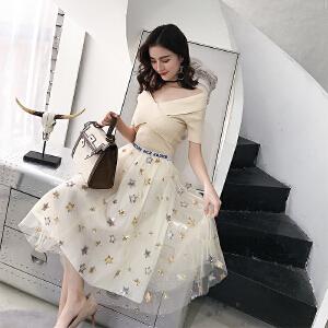 RANJU 然聚2018女装夏季新品新款chic一字肩短袖针织上衣重工网纱刺绣半身裙套装