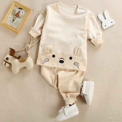 儿童肩扣彩棉男女宝宝拼接动物套装 婴幼儿服装秋衣秋裤两件套空调服睡衣