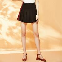 红袖条纹高腰A字版型短裙褶皱百褶裙
