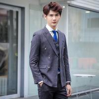 春季新款男式修身粉色小西装新郎结婚礼服男士韩版小西服 灰色