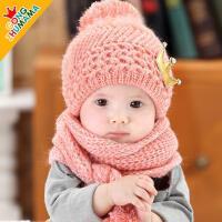 宝宝毛线帽围巾套儿童帽子男女童套头帽韩版小孩帽子1-2岁潮