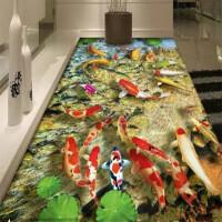 创新3D地毯客厅沙发茶几地毯卧室床边毯儿童地毯厨房浴室地垫门垫 酒红色 富贵有余