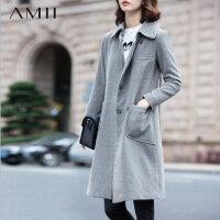 【券后秒杀80元】Amii[极简主义]冬修身翻领双排暗扣中长款毛呢外套女11581890