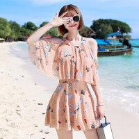 游泳衣 女保守新款显瘦遮肚时尚性感韩国连体裙式温泉大码泳装