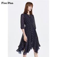 FIVE PLUS2019新款女秋装雪纺连衣裙高腰荷叶边中长裙子印花卡通