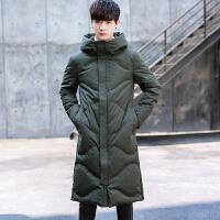 冬装男士羽绒服加长款过膝韩版加厚修身青年潮流90灰鸭绒外套