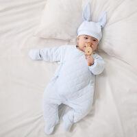 逍遥羊 新生婴儿服装秋季婴儿衣服韩版纯棉男女宝宝内衣新生儿系带哈衣