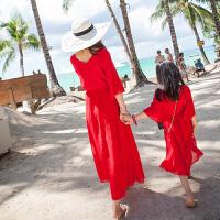 母女装亲子夏季雪纺连衣裙显瘦海边度假沙滩裙喇叭袖长裙2018