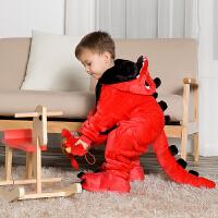 动物卡通连体睡衣表演珊瑚绒法兰绒红恐龙儿童男孩女童宝宝可爱冬