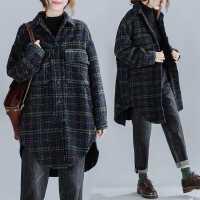 冬装新款韩版大码显瘦中长款休闲气质格子大衣女宽松加厚毛呢外套