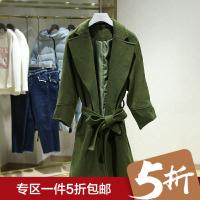 大翻领纯色中长款呢大衣冬装新款收腰腰带毛呢外套 女