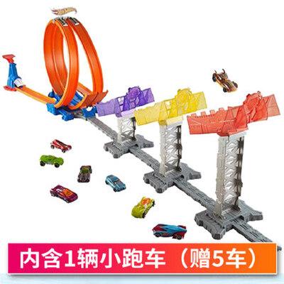 美泰风火轮火辣小跑车轨道极限跳跃赛道车合金车男孩玩具小车赛车