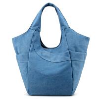 简约帆布女包韩版购物袋式女士单肩包民族风休闲包文艺范手提包包