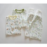 日式纯棉高腰护肚内衣套装 夏季婴幼儿家居服睡衣 透气排汗速干
