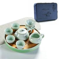 日式便携干泡茶盘陶瓷简约汝窑旅行功夫茶具套装家用茶壶茶台父亲节送父亲送朋友 +布包 5件