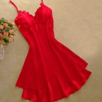 性感 吊带睡裙女夏季冰丝蕾丝诱惑红色加大码女人睡衣可爱短裙