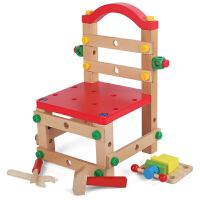 拼装木制积木儿童工具螺母丝组装玩具男孩拆装鲁班椅