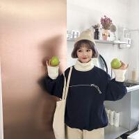 秋冬女装韩版宽松加厚撞色毛线高领套头呢子卫衣外套学生长袖上衣 均码