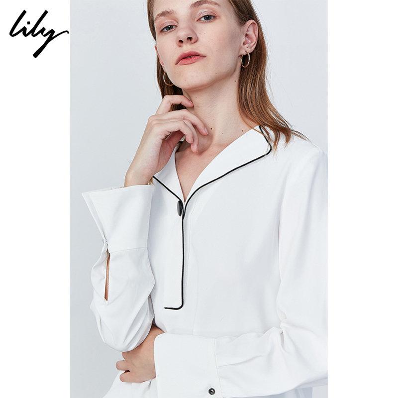 Lily2019冬新款女装气质撞色边翻领通勤上衣套头衬衫雪纺衫8E29