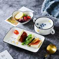 创意早餐餐具一人食套装日式ins风碗碟盘子家用儿童单人北欧
