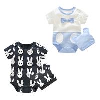 婴儿连体衣服男女宝宝0新生儿夏季6个月春夏款短袖带帽三角哈衣