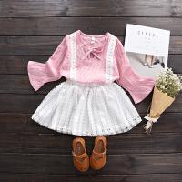 2018春季新品韩版女童喇叭袖格子上衣+镂空半身裙子套装