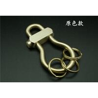 黄铜钥匙扣打磨 5mm加粗葫芦型钥匙圈复古创意男 汽车钥匙扣